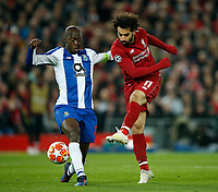 Mohamed Salah of Liverpool has a shot on goal during the UEFA Champions League Quarter Final first leg match between Liverpool and Porto at Anfield on April 9th 2019 in Liverpool, England. (Photo by Daniel Chesterton/phcimages.com)<br /> Foto PHC/Insidefoto <br /> ITALY ONLY
