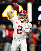 January 8th 2018, Atlanta, GA, USA; Alabama Crimson Tide quarterback Jalen Hurts (2) passes during the College Football Playoff National Championship Game between the Alabama Crimson Tide and the Georgia Bulldogs on January 8, 2018 at Mercedes-Benz Stadium in Atlanta, GA.
