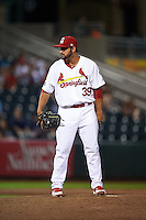 Springfield Cardinals pitcher Iden Nazario (39) looks in for the sign during a game against the Frisco RoughRiders  on June 4, 2015 at Hammons Field in Springfield, Missouri.  Frisco defeated Springfield 8-7.  (Mike Janes/Four Seam Images)