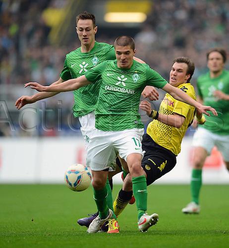 17 03 2012   Bundesliga 26 Matchday Borussia Dortmund versus Werder Bremen  Frances Affolter left and Aleksandar Ignjovski centre both SV
