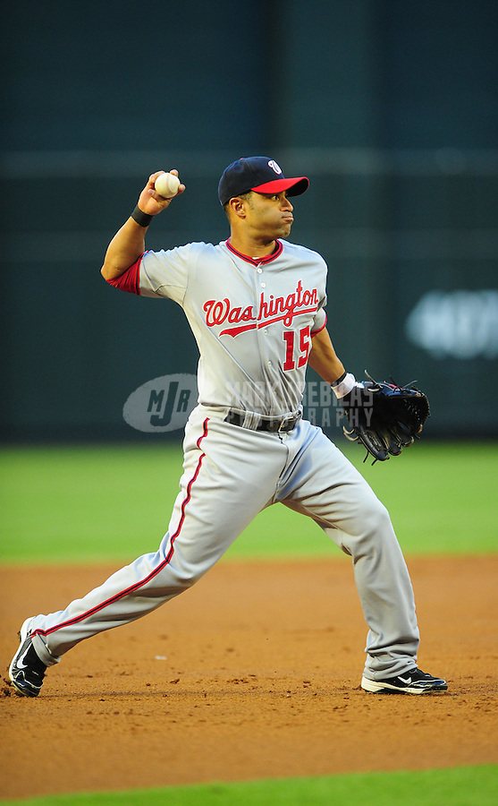 Jun. 2, 2011; Phoenix, AZ, USA; Washington Nationals third baseman Jerry Hairston against the Arizona Diamondbacks at Chase Field. Mandatory Credit: Mark J. Rebilas-