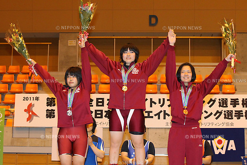 (L to R) Saeka Takagishi, Namika Matsumoto, Chihiro Kinoshita, JUNE 25, 2011 - Weightlifting : All Japan Weightlifting Championship Women's -63kg at Saitama City Gymnasium, Saitama Japan.(Photo by YUTAKA/AFLO SPORT) [1040]