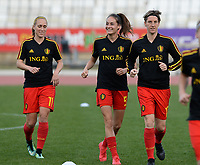 20180305 - LARNACA , CYPRUS :  Belgian Janice Cayman , Tessa Wullaert and Aline Zeler (r) pictured during warming up before a women's soccer game between  the Belgian Red Flames  and Austria , on Monday 5 March 2018 at the GSZ Stadium in Larnaca , Cyprus . This is the third game in group B for Belgium during the Cyprus Womens Cup , a prestigious women soccer tournament as a preparation on the World Cup 2019 qualification duels. PHOTO SPORTPIX.BE | DAVID CATRY