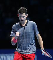 Dominic Thiem of Austria celebrates during his match against Kevin Anderson of South Africa<br /> <br /> Photographer Rob Newell/CameraSport<br /> <br /> International Tennis - Nitto ATP World Tour Finals Day 1 - O2 Arena - London - Sunday 11th November 2018<br /> <br /> World Copyright &copy; 2018 CameraSport. All rights reserved. 43 Linden Ave. Countesthorpe. Leicester. England. LE8 5PG - Tel: +44 (0) 116 277 4147 - admin@camerasport.com - www.camerasport.com
