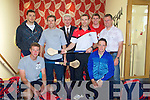HURLERS: Mark Sullivan GM of the Ballyroe Heights Hotel, Tralee welcomes members of the Senior Cork Hurlers to the hotel on Sunday for brunch after their training in Abbeydorney and Banna Strand over the week-end. Front. L-R: Eoin Dillon and Anthony Nash. Back l-r: Patrick Cronin, Ben O'Connor, Mark Sullivan (GM Ballyroe Heights Hotel), Gerry O'Connor, Kyle Naughton and Denis Walsh.
