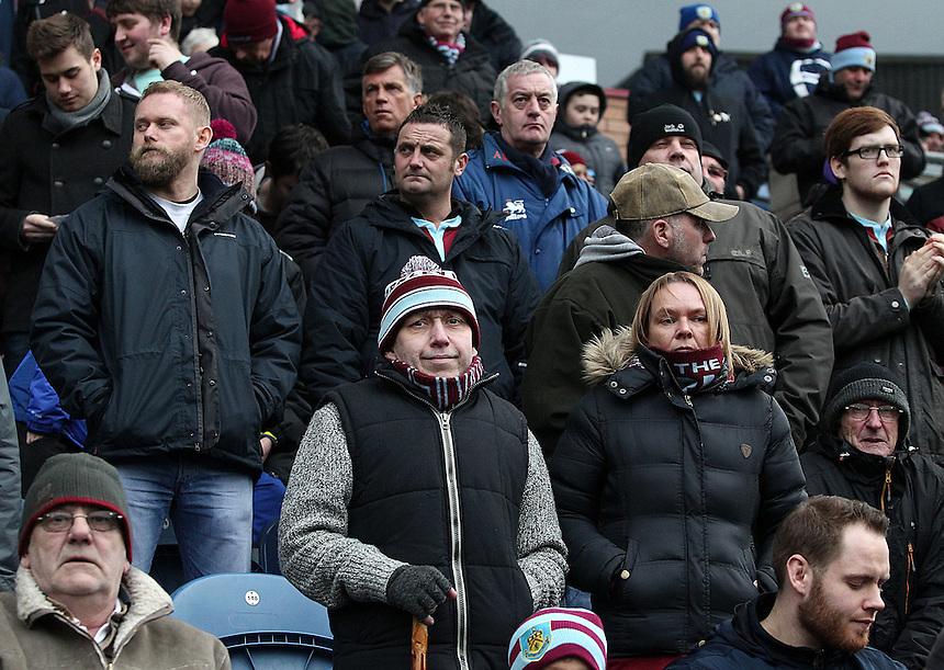 Burnley fans watch as their side slip to a 1 - 0  defeat<br /> <br /> Photographer Rich Linley/CameraSport<br /> <br /> Football - Barclays Premiership - Burnley v Swansea City - Friday 27th February 2015 - Turf Moor - Burnley<br /> <br /> &copy; CameraSport - 43 Linden Ave. Countesthorpe. Leicester. England. LE8 5PG - Tel: +44 (0) 116 277 4147 - admin@camerasport.com - www.camerasport.com