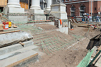 New Haven Courthouse GA 23 Phase 1. Project No: BI-JD-299<br /> Architect: JCJ Architecture  Contractor: Kronenberger Restoration<br /> James R Anderson Photography New Haven CT photog.com<br /> Date of Photograph: 21 April 2014<br /> Camera View: Northeast, South Elevation Steps, Right of Center  No.: 15