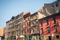 Cast iron and brick facade buildings in the New York neighborhood of Tribeca seen on Sunday, November 13, 2016. (© Frances M. Roberts)