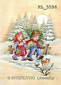 Interlitho, Dani, CHRISTMAS SANTA, SNOWMAN, nostalgic, paintings, 2 kids, cat(KL5596,#X#) Weihnachten, nostalgisch, Navidad, nostálgico, illustrations, pinturas