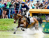 LEXINGTON, KENTUCKY - APRIL 29: High Kingdom #52, with rider Zara Tindall (GBR), land safely at the Head of the Lake during the Cross Country Test at the Rolex Kentucky 3-Day Event at the Kentucky Horse Park on April 29, 2017 in Lexington, Kentucky. (Photo by Scott Serio/Eclipse Sportswire/Getty Images)