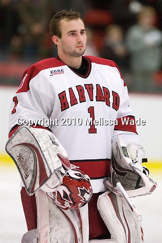 John Riley (Harvard - 1) - The Colgate University Red Raiders defeated the Harvard University Crimson 4-2 (EN) on Saturday, February 20, 2010, at Bright Hockey Center in Cambridge, Massachusetts.