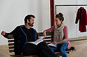 """© Jane Hobson. 12/04/2011. Kara Tointon and Rupert Everett in rehearsal for """"Pygmalion"""", which opens at the Garrick Theatre, London. Picture credit should read: Jane Hobson"""