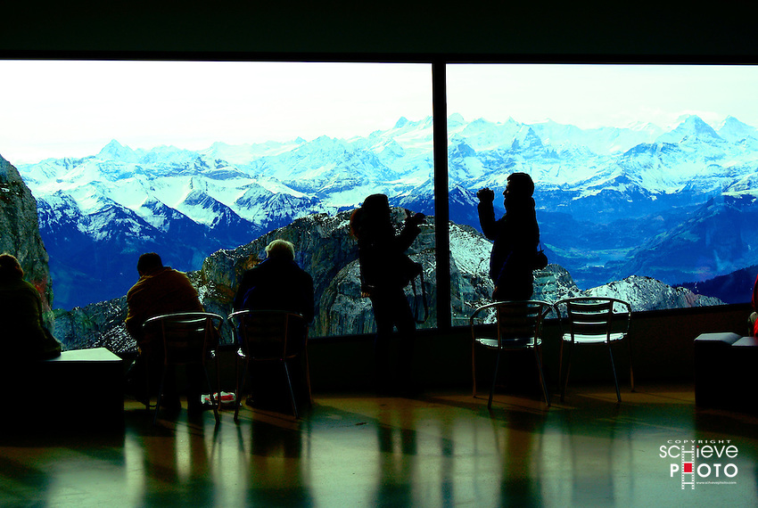 Visitors to the Hotel Pilatus-Kulm are treated to a spectacular view of the Swiss Alps.