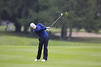 Matthew Fitzpatrick (ENG) plays his 2nd shot on the 17th hole during Sunday's fog delayed Round 3 of the 2017 Omega European Masters held at Golf Club Crans-Sur-Sierre, Crans Montana, Switzerland. 10th September 2017.<br /> Picture: Eoin Clarke | Golffile<br /> <br /> <br /> All photos usage must carry mandatory copyright credit (&copy; Golffile | Eoin Clarke)