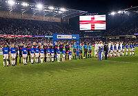 5th March 2020, Orlando, Florida, USA;  during the Women's SheBelieves Cup soccer match between the USA and England on March 5, 2020 at Exploria Stadium in Orlando, FL. The teams line up for national anthems