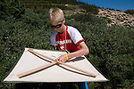 sixth grade volunteers learning techniques of insect collection, research, researcher, volunteers, entomology, field study, search for the rare mayfly, Ephemerella apopsis, conducted by Brian Heinold in Rocky Mountain National Park, Colorado, USA