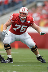 MADISON, WI - SEPTEMBER 9: Offensive lineman Andy Kemp #75 of the Wisconsin Badgers looks to block a defender of the Western Illinois Leathernecks at Camp Randall Stadium on September 9, 2006 in Madison, Wisconsin. The Badgers beat the Leathernecks 34-10. (Photo by David Stluka)