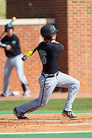 Nick Oberg (16) of the Coastal Carolina Chanticleers follows through on his swing against the High Point Panthers at Willard Stadium on March 15, 2014 in High Point, North Carolina.  The Chanticleers defeated the Panthers 1-0 in the first game of a double-header.  (Brian Westerholt/Four Seam Images)
