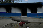 February 16, 2004. St. Marc, Haiti. The firebombed police station