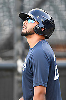 First baseman Jose Brizuela (20) of the Columbia Fireflies during batting practice before a game against the Charleston RiverDogs on Wednesday, August 29, 2018, at Spirit Communications Park in Columbia, South Carolina. Charleston won, 6-1. (Tom Priddy/Four Seam Images)