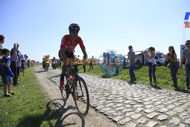 Head of the race Jelle Wallays (BEL) Lotto-Soudal on pave sector 17 Hornaing a Windignies during the 115th edition of the Paris-Roubaix 2017 race running 257km Compiegne to Roubaix, France. 9th April 2017.<br /> Picture: Eoin Clarke | Cyclefile<br /> <br /> <br /> All photos usage must carry mandatory copyright credit (&copy; Cyclefile | Eoin Clarke)