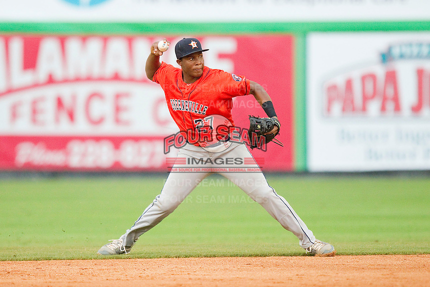 Greeneville Astros shortstop Juan Santana (27) makes a throw to first base against the Burlington Royals at Burlington Athletic Park on July 1, 2013 in Burlington, North Carolina.  The Astros defeated the Royals 8-1 in Game Two of a doubleheader.  (Brian Westerholt/Four Seam Images)