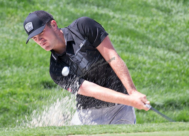Will Gordon hits out of a sand trap on the 2nd green during the Barracuda Championship PGA golf tournament at Montrêux Golf and Country Club in Reno, Nevada on Saturday, July 27, 2019.