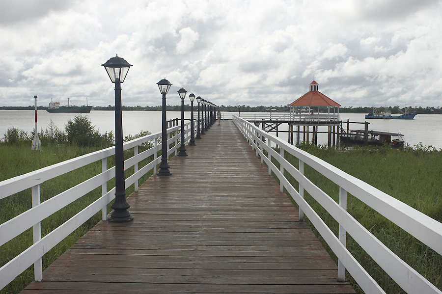 Pier on the Suriname River behind the Hotel Torarica in the capital city of Paramaribo, Suriname.