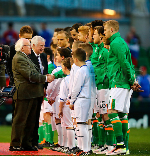 29.03.2016. Aviva Stadium, Dublin, Ireland. International Football Friendly Rep. of Ireland versus Slovakia. <br /> President of Ireland Michael D. Higgins meets the team.
