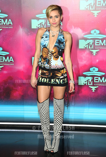 Miley Cyrus arriving at the MTV EMA awards, Amsterdam, Netherlands. 10/11/20013 Picture by: Henry Harris / Featureflash
