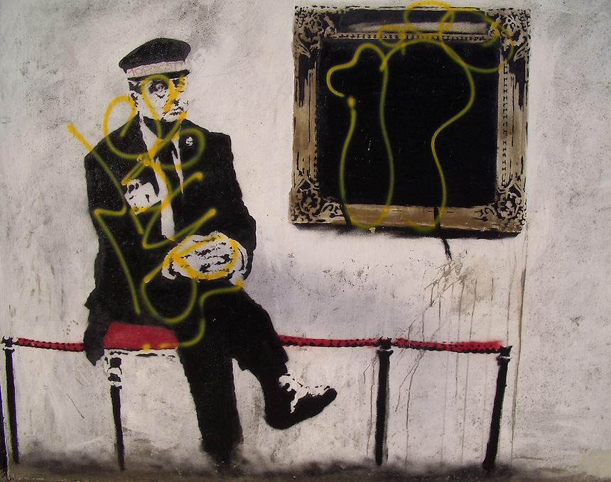 Banksy Street Artist. Museum Guard on Hackney Road E2 near Shoreditch High St London.<br /> PIC JAYNE RUSSELL. 26.05.2008