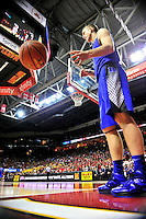 Mason Plumlee of the Blue Devils inbound the ball. Maryland defeated Duke 81-83 at the Comcast Center in College Park, MD on Saturday, February 16, 2013. Alan P. Santos/DC Sports Box