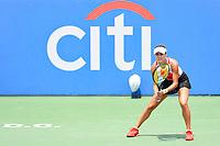 Washington, DC - August 3, 2019: Anna Kalinskaya (RUS) awaits the serve from Jessica Pegula (USA) during the Citi Open WTA Singles Semi Finals at Rock Creek Tennis Center, in Washington D.C. (Photo by Philip Peters/Media Images International)