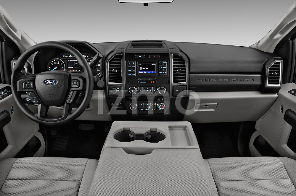 Stock photo of straight dashboard view of 2017 Ford F-250 XLT-SuperCab 4 Door Pickup Dashboard