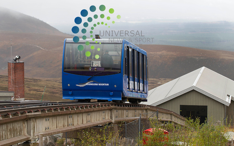 The Cairngorm Mountain Funicular Railway, which opened in 2001, is the highest railway in the United Kingdom. The two-kilometre long funicular ascends the northern slopes of Cairngorm<br /> Picture: Universal News And Sport (Europe) 16 October  2014.