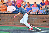 Johnson City Cardinals third baseman Nolan Gorman (4) swings at a pitch during a game against the Pulaski Yankees at TVA Credit Union Ballpark on July 7, 2018 in Johnson City, Tennessee. The Cardinals defeated the Yankees 7-3. (Tony Farlow/Four Seam Images)