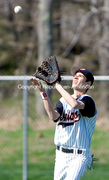 WATERTOWN, CT- 30 APRIL 07- 043007JT11-<br /> Watertown's Rob Likely catches a fly ball during Monday's game at Deland Field against Woodland in Watertown. Woodland won 7-3.<br /> Josalee Thrift Republican-American