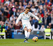 9th December 2017, Santiago Bernabeu, Madrid, Spain; La Liga football, Real Madrid versus Sevilla; Cristiano Ronaldo  of Real Madrid celebrates the (3,0) scores from the penalty spot