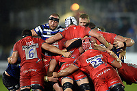 Max Lahiff of Bath Rugby in action at a scrum. Gallagher Premiership match, between Bath Rugby and Sale Sharks on December 2, 2018 at the Recreation Ground in Bath, England. Photo by: Patrick Khachfe / Onside Images