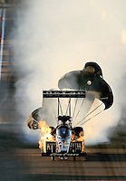 Feb. 22, 2013; Chandler, AZ, USA; NHRA top fuel dragster driver Khalid Albalooshi explodes an engine in flames during qualifying for the Arizona Nationals at Firebird International Raceway. Mandatory Credit: Mark J. Rebilas-