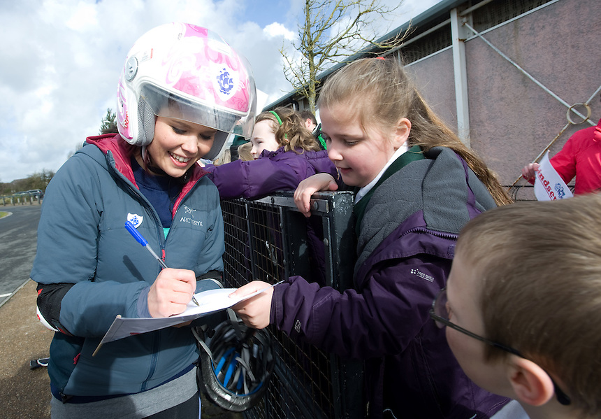 Blue Peter presenters have gone head-to-head on their personally modified bikes in a cycle race for Sport Relief 2014.  Lindsey Russell signs autographs for children from Ingol Community Primary School<br /> <br /> Photo by Chris Vaughan/CameraSport<br /> <br /> Commercial - Sport Relief -  publicity shoot - Tuesday 4th March 2014 - University of Central Lancashire Sports Arena - Preston<br /> <br /> &copy; CameraSport - 43 Linden Ave. Countesthorpe. Leicester. England. LE8 5PG - Tel: +44 (0) 116 277 4147 - admin@camerasport.com - www.camerasport.com