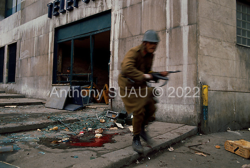 Bucharest, Romania<br /> December 24, 1989<br /> <br /> An anti-Ceausescu militia exposes himself to pro-Ceausescu Securitate snipers fire.<br /> <br /> The week-long series of violence that overthrew the Communist regime of Nicolae Ceausescu, ended in a trial and execution of Ceausescu and his wife Elena by firing squad. Romania was the only Eastern Bloc country to violently overthrow its Communist regime or to execute its leaders.<br /> <br /> The Romanian populace was dissatisfied with the Communist regime and leader Ceausescu's economic and development policies were blamed for the country's shortages and widespread poverty. The powerful secret police (Securitate) controlled what was essentially a police state. Ceausescu was not pro-Soviet but &quot;independent&quot; on foreign policy. He imitated the hard-line, megalomania, and personality cults of communist leaders like North Korea's Kim Il Sung.