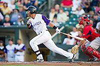 Rochester Red Wings outfielder Wilkin Ramirez #19 during an International League game against the Pawtucket Red Sox at Frontier Field on August 11, 2012 in Rochester, New York.  Rochester defeated Pawtucket 5-3.  (Mike Janes/Four Seam Images)