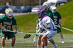 James Leary (#50) challenges Tehoka Nanticoke (#1) as UAlbany Lacrosse defeats Vermont 14-4  in the American East Conference Championship game at Casey Stadium, May 5.