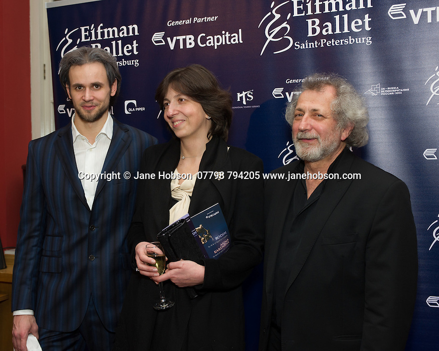 London, UK. 15.04.2014. Eifman Ballet after-party on press night for the opening of Rodin, Sky Bar, London Coliseum. Pictured: Oleg Gabyshev (let), Boris Eifman (far right). Photograph © Jane Hobson.