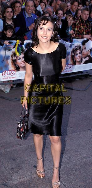 JAYNE MIDDLEMISS.black satin dress.Ref: 7558.www.capitalpictures.com.sales@capitalpictures.com.©Capital Pictures
