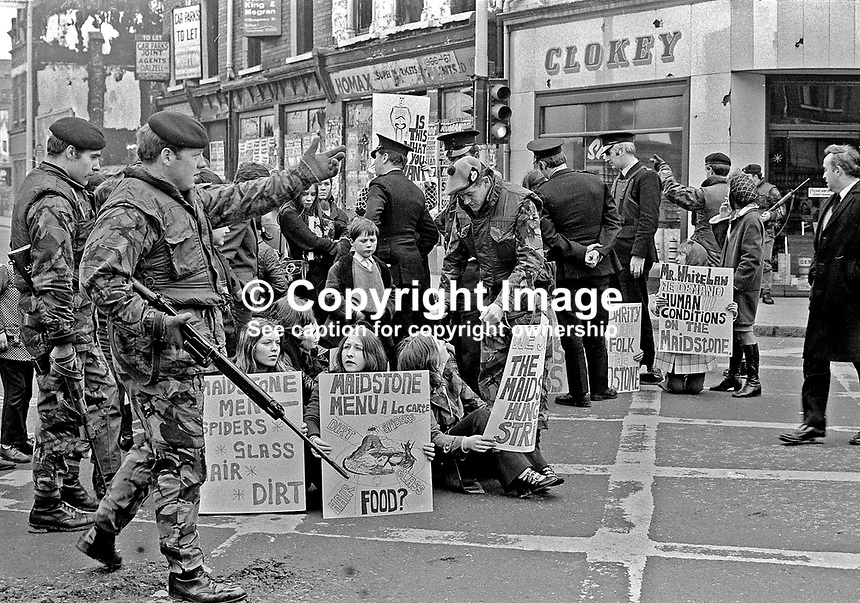 Wives &amp; girlfriends of IRA internees held on the prison ship, Maidstone, protest in the centre of Belfast. Police and soldiers in attendance. Ref: 19720405001.<br /> <br /> Copyright Image from Victor Patterson, 54 Dorchester Park, Belfast, UK, BT9 6RJ<br /> <br /> t1: +44 28 9066 1296 (from Rep of Ireland 048 9066 1296)<br /> t2: +44 28 9002 2446 (from Rep of Ireland 048 9002 2446)<br /> m: +44 7802 353836<br /> <br /> e1: victorpatterson@me.com<br /> e2: victorpatterson@gmail.com<br /> <br /> www.victorpatterson.com<br /> <br /> IMPORTANT: Please see my Terms and Conditions of Use at www.victorpatterson.com