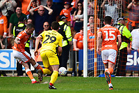Blackpool's Jay Spearing scores his side's first goal from a penalty<br /> <br /> Photographer Richard Martin-Roberts/CameraSport<br /> <br /> The EFL Sky Bet League One - Blackpool v Fleetwood Town - Monday 22nd April 2019 - Bloomfield Road - Blackpool<br /> <br /> World Copyright © 2019 CameraSport. All rights reserved. 43 Linden Ave. Countesthorpe. Leicester. England. LE8 5PG - Tel: +44 (0) 116 277 4147 - admin@camerasport.com - www.camerasport.com