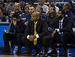 San Jose State head coach Jean Prioleau, center, works the sidelines against Nevada in the second half of an NCAA college basketball game in Reno, Nev., Wednesday, Jan. 9, 2019. (AP Photo/Tom R. Smedes)