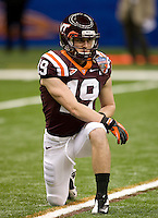Danny Coale of Virginia Tech warms up before Sugar Bowl game against Michigan at Mercedes-Benz SuperDome in New Orleans, Louisiana on January 3rd, 2012.  Michigan defeated Virginia Tech, 23-20 in first overtime.